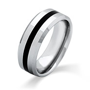 Men's Engravable Black Stripe Beveled Edge Tungsten Ring