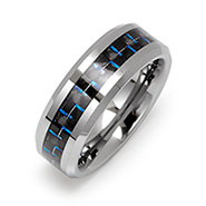 Men's Engravable Cobalt Blue Carbon Fiber Inlay Tungsten Ring