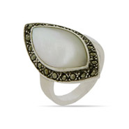 Marquise Shaped Mother of Pearl Sterling Silver Marcasite Ring
