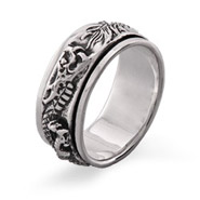 Sterling Silver Dragon Spinner Ring