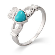 Sterling Silver Turquoise Claddagh Ring