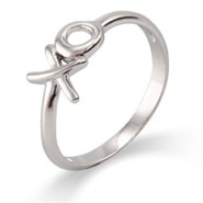 Tiffany Inspired Sterling Silver Hugs and Kisses Ring