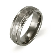 Men's Hammered Design Titanium Ring