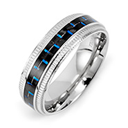 Men's Blue Carbon Fiber Stainless Steel Band
