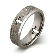 Handcrafted Vine Design with Cross Cut Out Titanium Ring