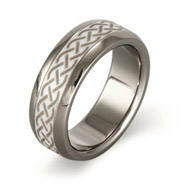 Men's Titanium Ring with Ceramic Celtic Design Inlay