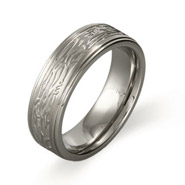 Men's Stainless Steel Tree Bark Design Ring