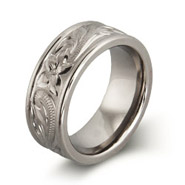 Engravable Handcrafted Heirloom Design Titanium Ring