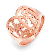 Rose Gold Vermeil Custom Monogram Heart Ring