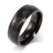 Men's Black Stainless Steel Carved Design Ring