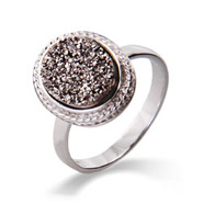 Oval Sterling Silver Cabled Shimmering Dusk Drusy Ring