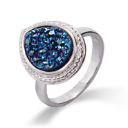 Sterling Silver Cabled Pearcut Blue Drusy Ring