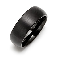 8mm Brushed Finish Black Comfort Fit Tungsten Ring