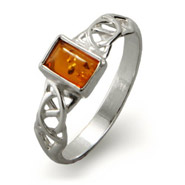 Emerald Cut Baltic Amber Sterling Silver Celtic Knot Ring