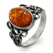 Woven Celtic Knot Genuine Baltic Amber Ring