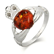 Genuine Baltic Amber Sterling Silver Claddagh Ring