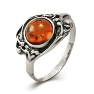 Antique Style Baltic Amber Sterling Silver Ring