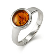 Sterling Silver Bezel Set Baltic Amber Ring