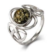 Celtic Trinity Green Amber Sterling Silver Ring
