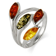 TriColor Baltic Amber Sterling Silver Leaves Ring