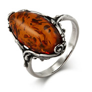 Classic Scroll Design Oval Cut Baltic Amber Silver Ring
