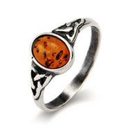 Petite Sterling Silver Oval Amber Ring with Celtic Design
