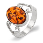 Oval Baltic Amber Ring In Infinity Heart Setting