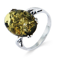 Exquisite Large Oval Green Baltic Amber Sterling Silver Ring