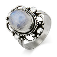 Oval Vintage Scroll Moonstone Ring
