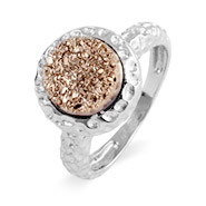 Sterling Silver Hammered Design Rose Drusy Ring