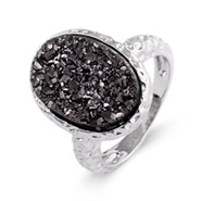 Sterling Silver Hammered Design Charcoal Drusy Ring