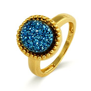 Gold Vermeil Blue Drusy Ring