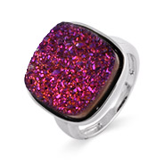 Sterling Silver Cushion Cut Purple Drusy Ring