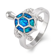Sterling Silver Opal Sea Turtle Ring
