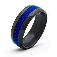 Men's Black Plate Ceramic Band with Blue Carbon Fiber Inlay