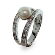 Sterling Silver Freshwater Pearl Ring with Two Rows of CZs