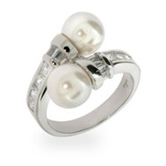 Double Pearls and Diamond CZ Sterling Silver Ring