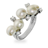 Scattered Pearls and CZs Sterling Silver Ring