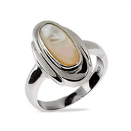 Sleek Oval Sterling Silver Mother of Pearl Ring