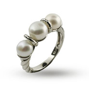 Designer Inspired Triple Freshwater Pearl Sterling Silver Cable Ring