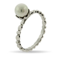 Stackable Reflections Single Pearl Silver Stackable Ring
