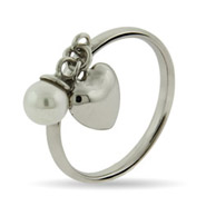 Stackable Reflections Pearl with Dangle Heart Stackable Ring