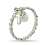 Stackable Reflections Cross and Pearl Charm Silver Stackable Ring
