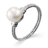 Sterling Silver Single Pearl Cable Ring