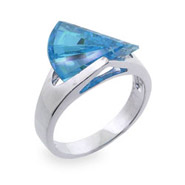 Sterling Silver Ring with Turquoise Cubic Zirconia