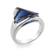 Sterling Silver Ring with Sapphire Blue Cubic Zirconia