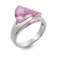 Sterling Silver Ring with Pink Cubic Zirconia