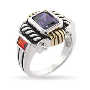 Designer Inspired Ring with Amethyst Cubic Zirconia