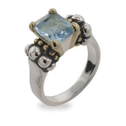 Steven Lagos Inspired Ring with Blue Topaz Cubic Zirconia