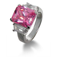 J Lo Inspired Pink CZ Engagement Ring